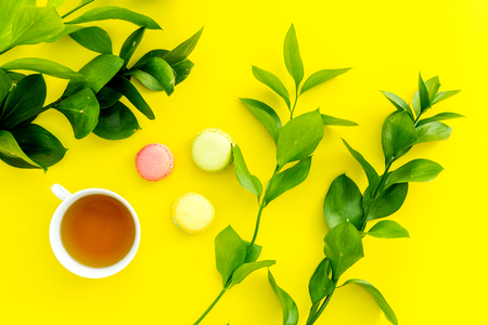 Summer mood, summer tea party. Cup of tea and sweets macaroons near bright greenery on yellow background top view