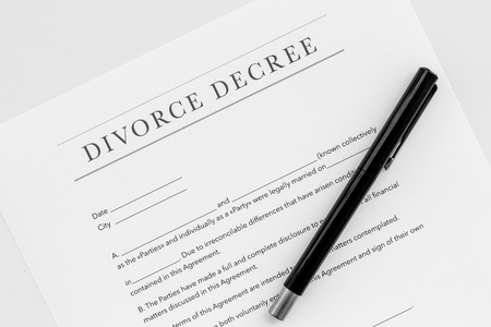 Divorce decree. Document on white background top view
