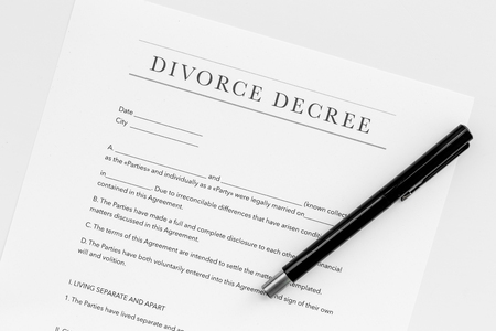 Divorce decree. Document on white backgroud top view Stock Photo