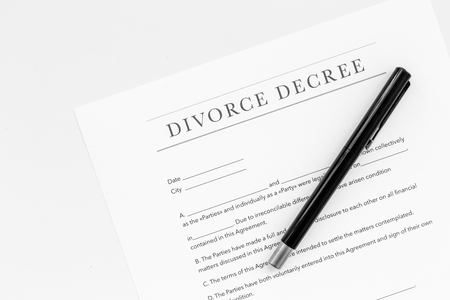 Divorce decree. Document on white background top view. Stock Photo