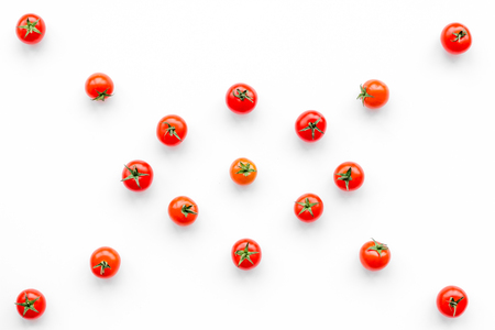 Fresh red tomatoes on white background top view. Stock Photo
