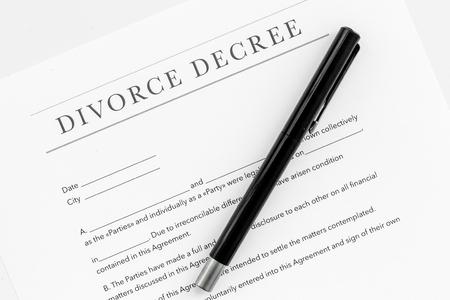 Divorce decree. Document on white background top view. Stock Photo