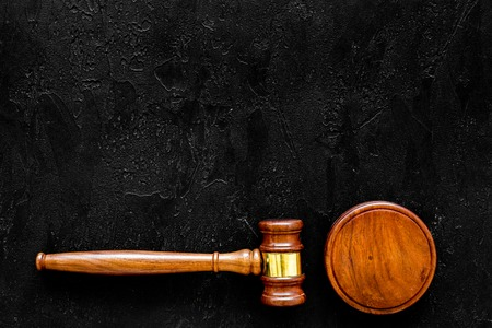 Lawyer or attorney concept. Judge gavel on black background top view copy space