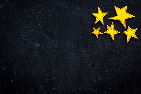 Stars frame. Drawn stars on black background top view space for text Stock Photo