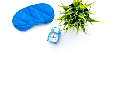 Healthy sleep concept. Sleeping mask on white background top view. Foto de archivo