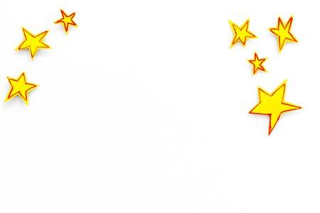 Stars frame. Drawn stars on white background top view. Stock Photo