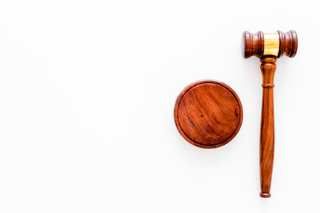 Law or jurisprudence concept. Judge gavel on white background top view 写真素材