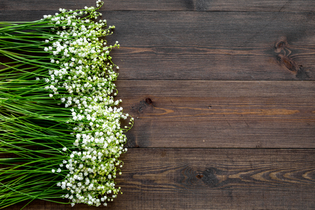 Lily of the valley flowers frame. Spring background on dark wooden desk top view copy space Stock Photo