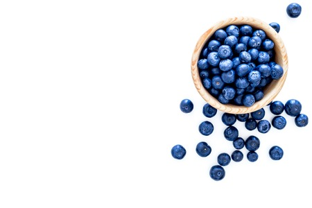 Fresh recently picked blueberries in bowl on white background top view copy space. 스톡 콘텐츠
