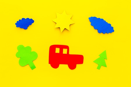 impact of cars on the environment. Car, environment cutout on yellow background top view