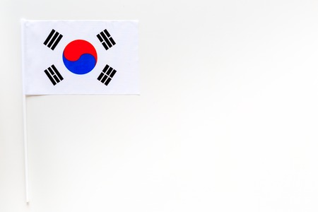 Korean flag concept. small flag on white background top view copy space