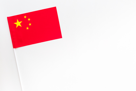 Chinese flag concept. Small flag top view
