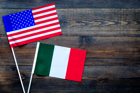 American and Italian flags top view copy space Reklamní fotografie