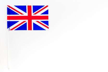 British flag concept. Small flag on white background top view space for text
