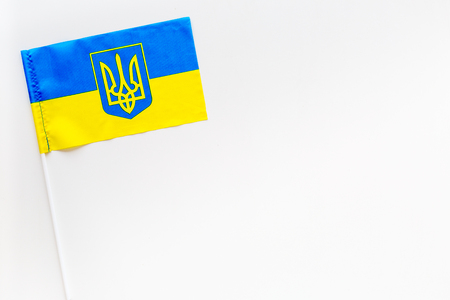 Ukrainian flag concept. Small flag top view 版權商用圖片