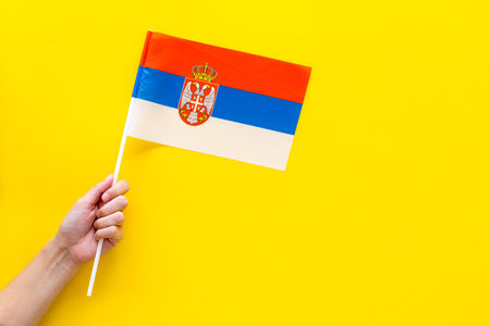 Serbian flag concept. Small flag top view Stock Photo