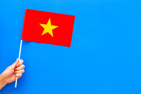 Vietnamese flag concept. Small flag top view Stock Photo