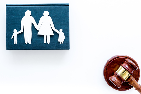 Family law, family right concept. Child-custody concept. Family with children cutout near court gavel on white background top view.