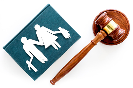 Family law, family right concept. Child-custody concept. Family with children cutout near court gavel on white background top view copy space