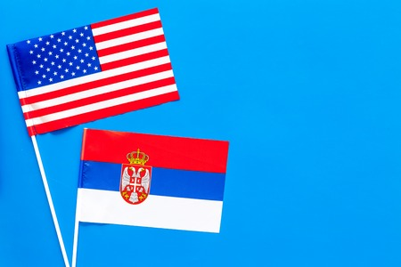 American and Serbian flags top view copy space Stock Photo - 103894895