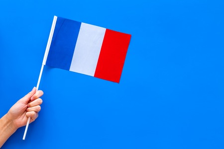 French flag concept. Small flag top view