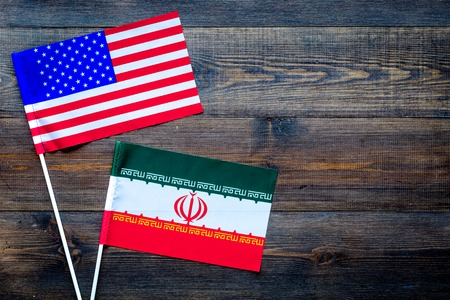 American and Iranian flags top view copy space Stok Fotoğraf