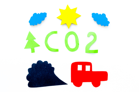Cars emitting carbon dioxide. Pollution concept. harm the environment. Car and smoke cutout on white background top view.