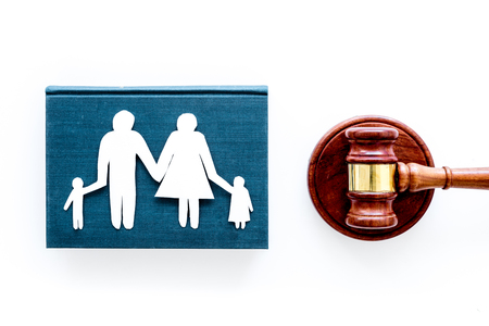 Family law, family right concept. Child-custody concept. Family with children cutout near court gavel on white background top view. Foto de archivo - 104399715