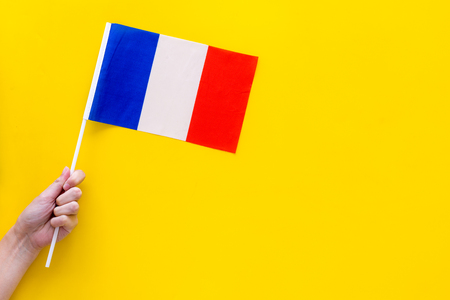 French flag concept. Hand hold small flag on yellow background top view copy space Reklamní fotografie - 104540702