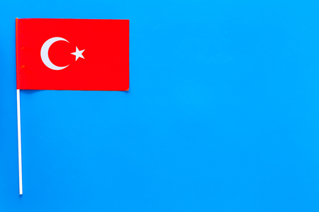 Turkish flag concept. Small flag top view
