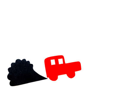 Car emitting dirty smoke. Pollution concept. Car and smoke cutout on white background top view.