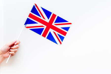 British flag concept. Small flag top view