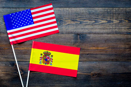 american and spanish flags top view copy space stock photo picture