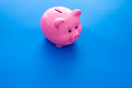 Piggy bank. Moneybox in shape of pig on blue background copy space