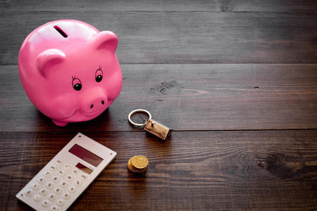 Mortgage. Savings for buy house. Moneybox in shape of pig near keychain in shape of car, coins, calculator on dark wooden background. Banque d'images - 106140629