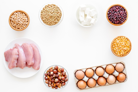Healthy food. Products rich protein and fiber. Stock Photo