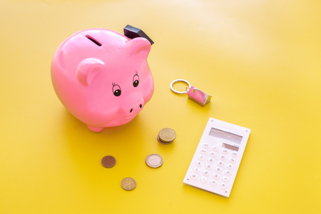 Mortgage. Savings for buy house. Moneybox in shape of pig near keychain in shape of car, coins, calculator on yellow background. Banque d'images - 106491099