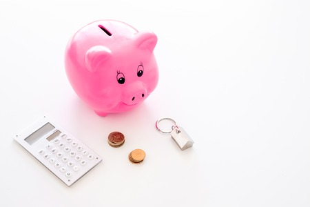 Mortgage. Savings for buy house. Moneybox in shape of pig near keychain in shape of car, coins, calculator on white background.