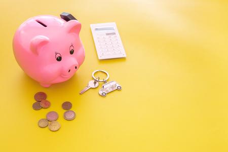 Money for buy car. Moneybox in a shape of a pig. Zdjęcie Seryjne
