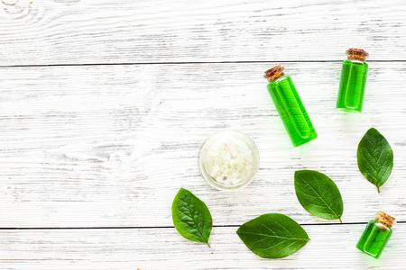 Natural hipoallergenic cosmetics with tea tree essential oil. Stock Photo