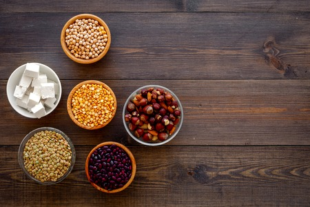 Vegan protein source. Legumes, nuts, cheese. Raw beans, chickpeas, lentil, almond, hazelnut on dark wooden background top view space for text