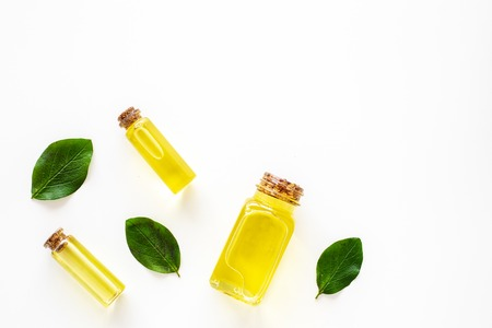 Tea tree essential oil near tea tree leaves on white background top view copy space 스톡 콘텐츠