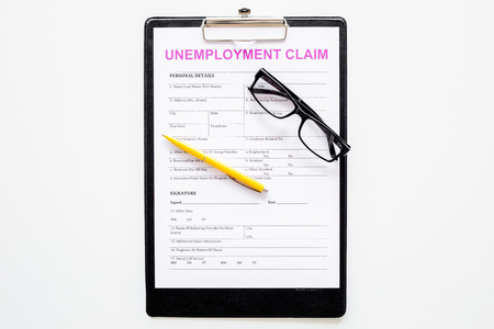 Unemployment claim form on white background top view. Standard-Bild - 107199757