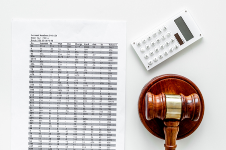 Bankruptcy concept. Judge gavel, documents, calculator on white background top view