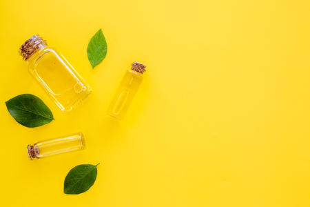 Tea tree essential oil near tea tree leaves on yellow background top view copy space