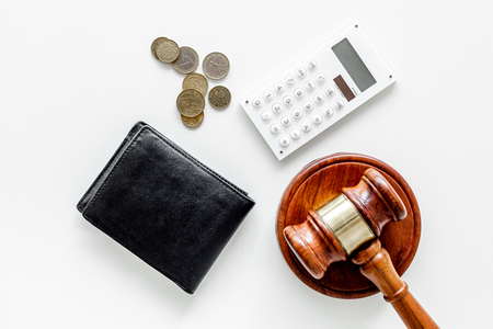 Financial failure, bankruptcy concept. Judge gavel, wallet, coins calculator on white background