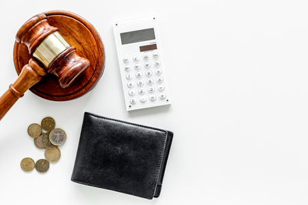 Financial failure, bankruptcy concept. Judge gavel, wallet, coins calculator on white background Standard-Bild - 108110820