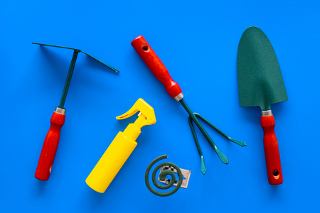 Mosquito protection for garden. Mosquito coil and spray near garden tools on blue background top view.
