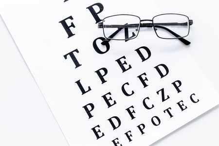 Eye test, eye examination. Glasses with transparent optical lenses on eye test chart on white background top view.
