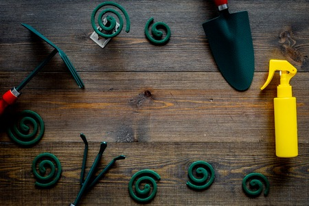 Mosquito protection for garden. Mosquito coil and spray near garden tools on dark wooden background top view copy space Banque d'images - 108325792